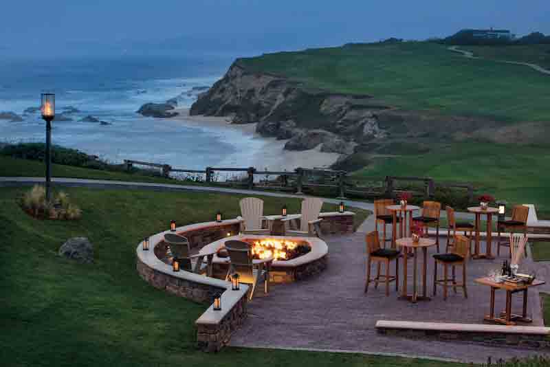 A view of the outdoor patio at the Ritz-Carlton Half Moon Bay