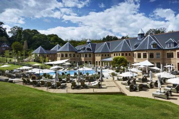 Exterior shot of the decking at The Spa at Pennyhill Park