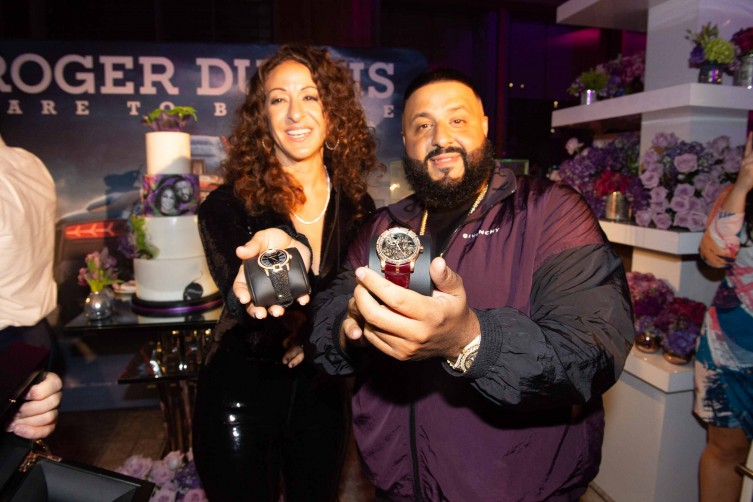 Nicole Tuck and DJ Khaled with Roger Dubuis watches