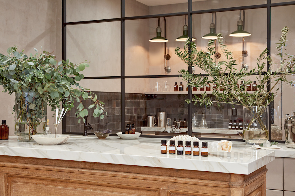The aromatherapy lab at the new boutique