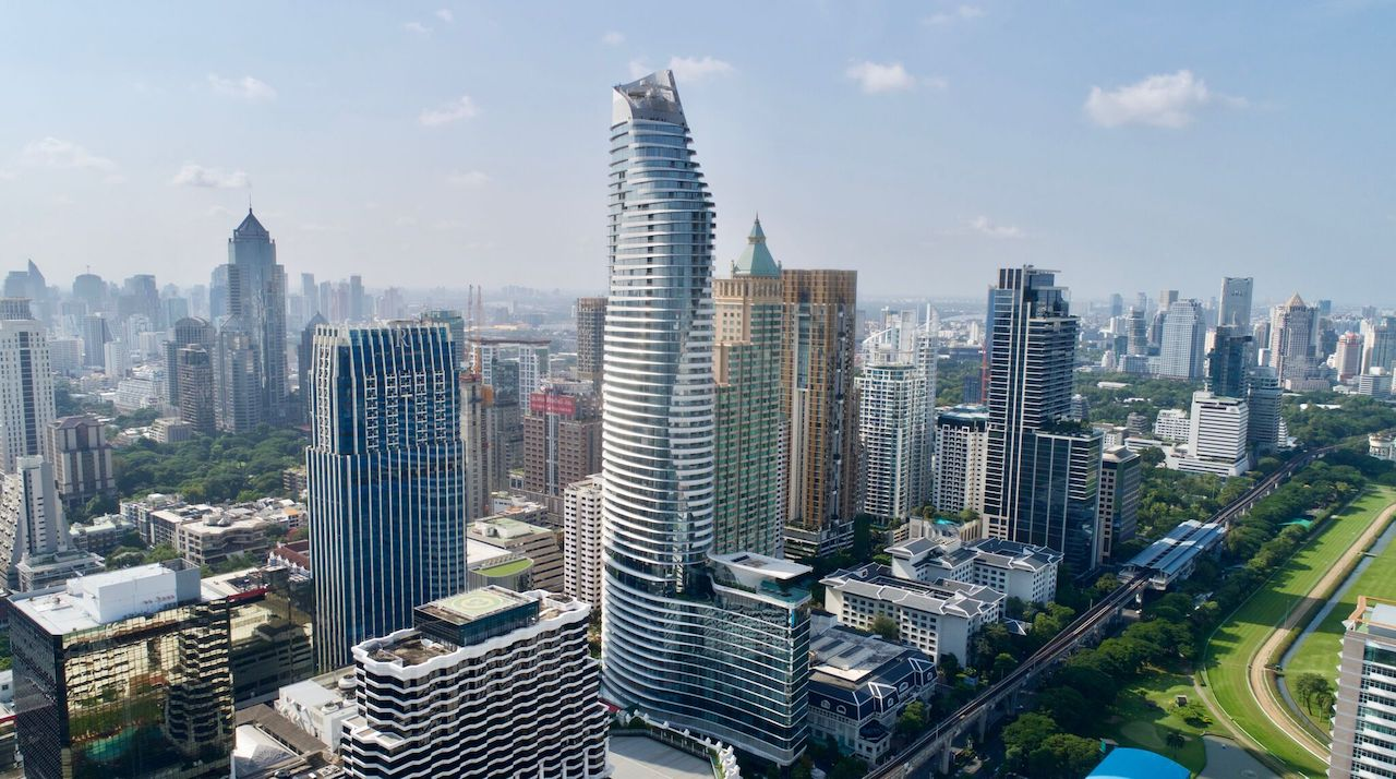 The tall curvy building, center, is home to the new Waldorf Astoria Bangkok