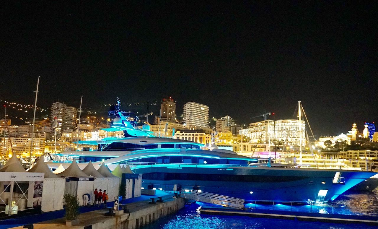 A yacht in harbor during the event