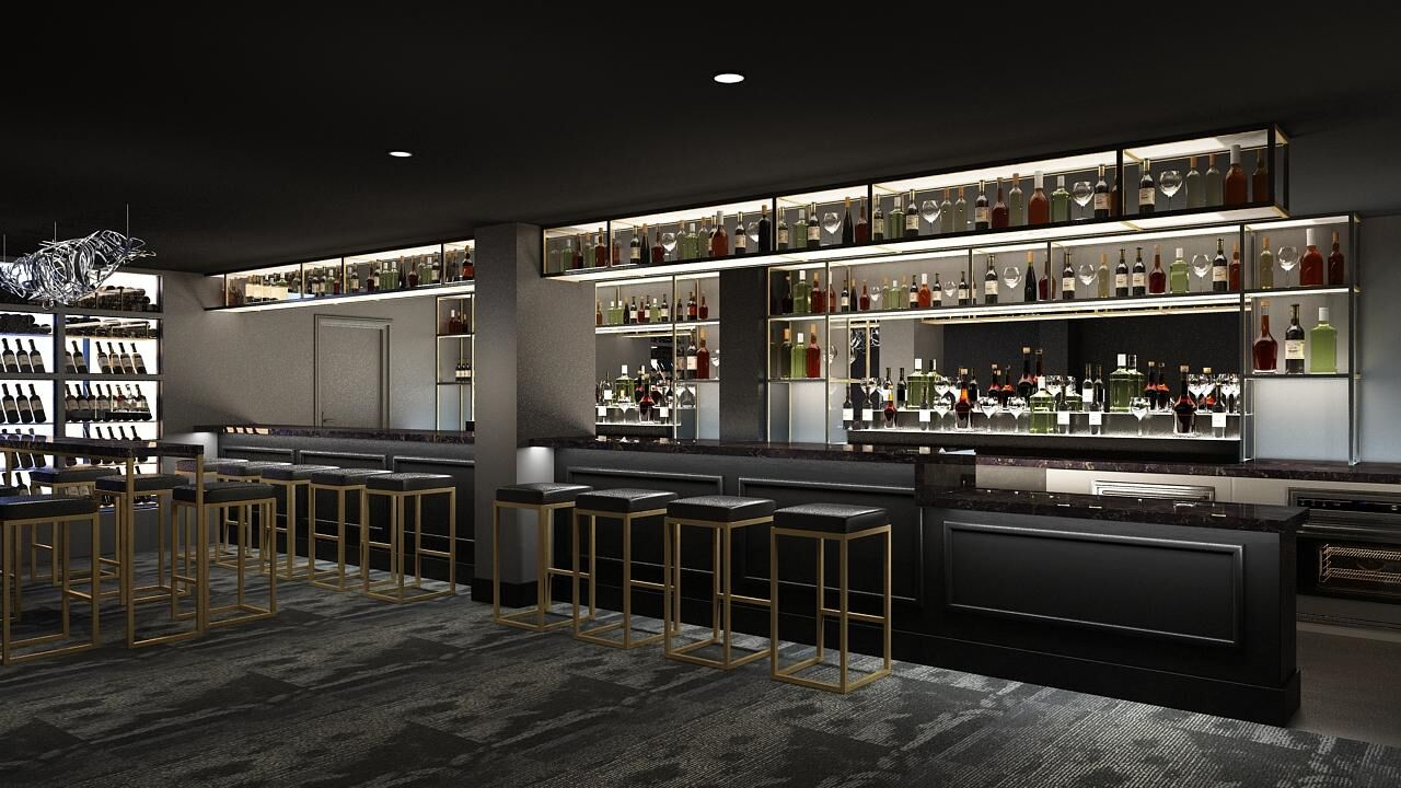 A rendering of the bar at One65