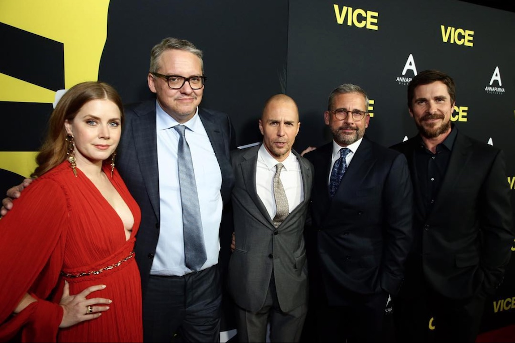 "Amy Adams, Adam McKay, Sam Rockwell, Steve Carell and Christian Bale at the ""Vice"" movie premiere"