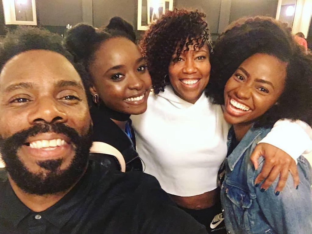 "A behind-the-scenes shot of ""If Beale Street Could Talk"" cast Colman Domingo, KiKi Layne, Regina King and Teyonah Parris"