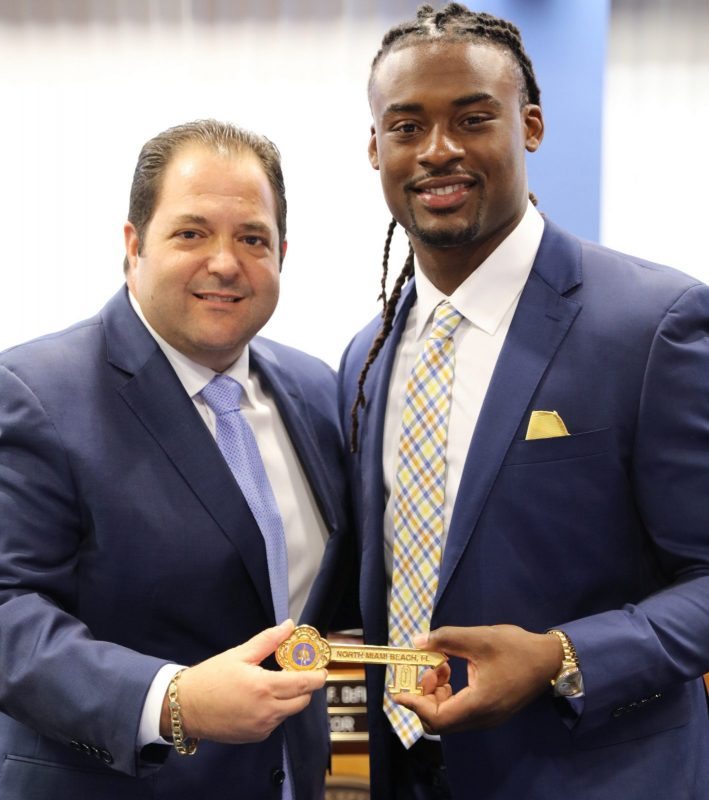 Mayor Anthony F. DeFillipo and Jonathan Cyprien - Key to the City