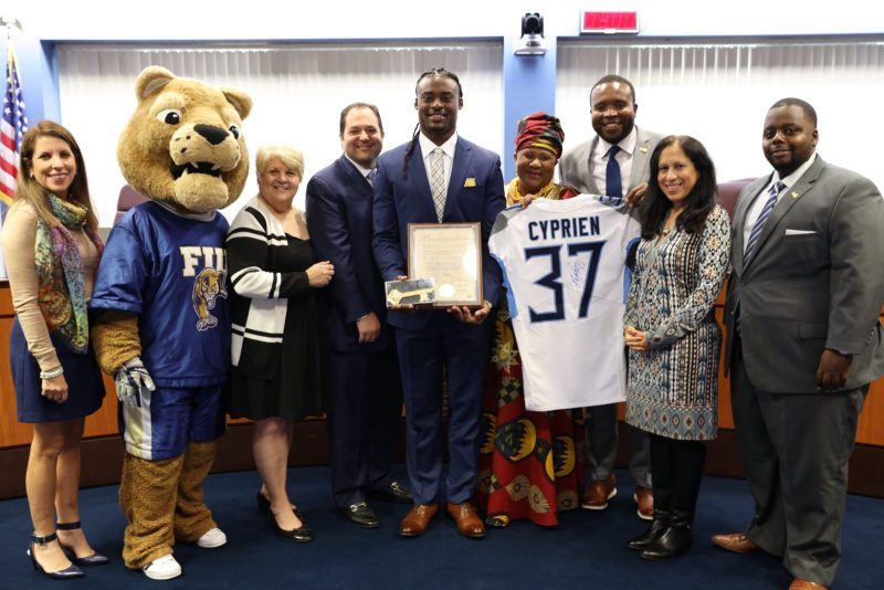 City Commission + Jonathan Cyprien with FIU Mascot + Key + Proclamation