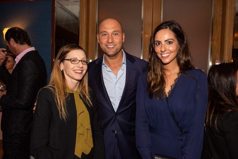 Caroline O'Connor, Derek Jeter and Nicolette Lawrence