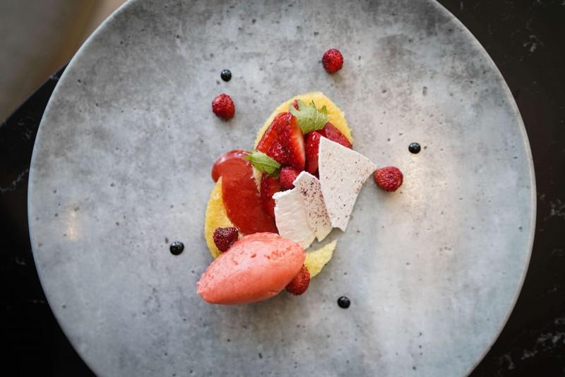 Eton Mess wild strawberries, olive oil cake, verjus sorbet (3)