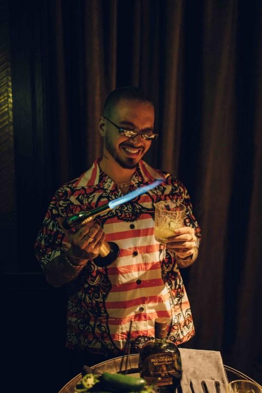 J Balvin Preparing the Viva Buchanan's Cocktail at Casa Buchanan's The Speakeasy in Las Vegas 4_24_19_Photo by Orli Arias