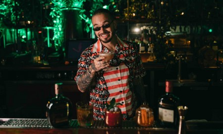 J Balvin Preparing the Viva Buchanan's Cocktail at Casa Buchanan's The Speakeasy in Las Vegas 4_24_19_Photo by Orli Arias