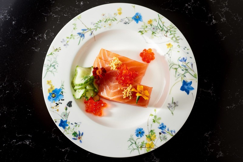 London Gin Cured Salmon smoked trout roe, sweet & sour persian cucumber