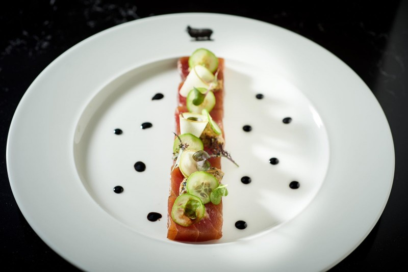 Yellowfin Tuna Tataki green apple wasabi, charred scallion miso