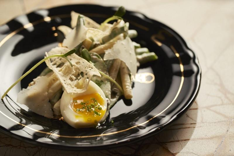 Jardin Caesar Soft Cooked Egg, Creamy Feta, Garlic Crouton, Capers