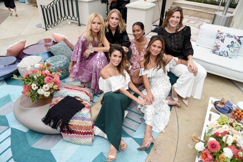 Rachel Zoe, Anine Bing, Lizzy Mathis, Candace Nelson, (front row) Nikki Reed, and Vanessa Lachey, all wearing Rachel Zoe Collection