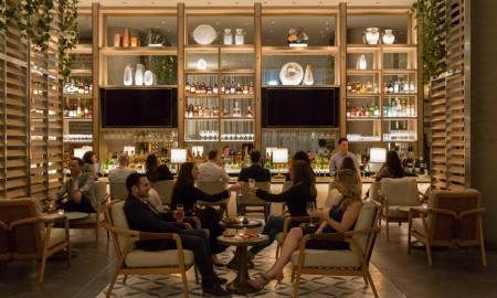 Boulud Sud bar - straight shot - w people