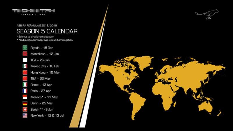 TECHEETAH Forumla E Season 5 Calendar