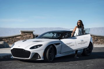 Aston Martin Waldorf Astoria Dual Logo Car At Scenic Outlook With Actress Aston Martin Waldorf Astoria Dual Logo Car At Scenic Outlook With Actress