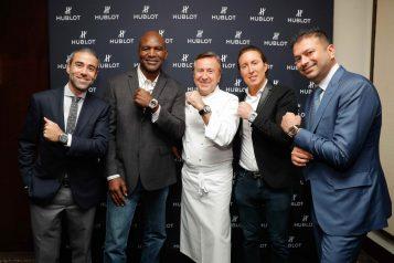 Jean-François Sberro, Evander Holyfield, Chef Daniel Boulud, Daniel Neiditch and Kamal Hotchandani