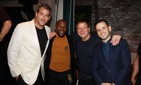 Mark Birnbaum, Floyd Mayweather, Tilman Fertitta and Eugene Remm attend CATCH Las Vegas opening weekend dinner at ARIA Resort & Casino on October 26, 2018 in Las Vegas, Nevada.