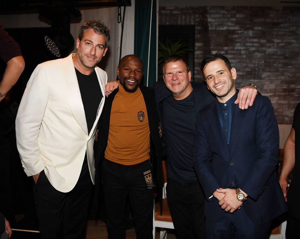 Mark Birnbaum, Floyd Mayweather, Tilman Fertitta and Eugene Remm attend CATCH Las Vegas opening weekend dinner at ARIA Resort & Casino on October 26, 2018 in Las Vegas, Nevada.