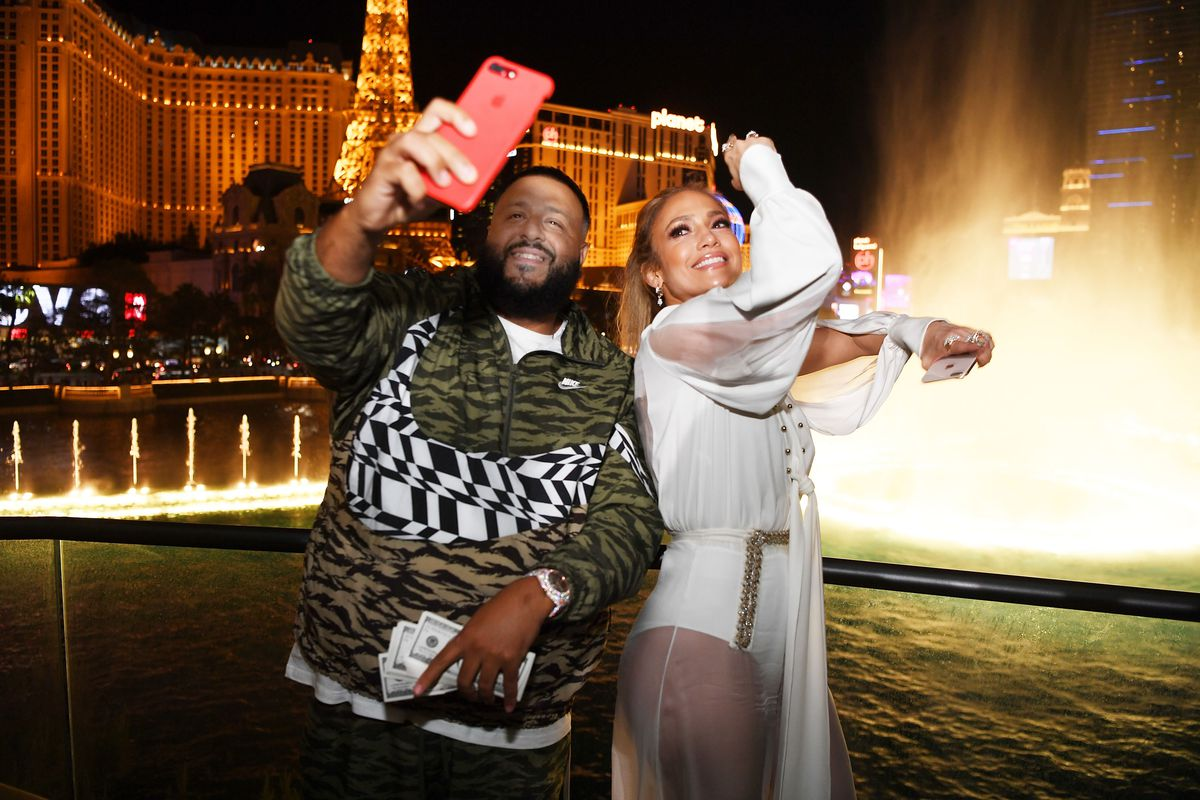 DJ Khaled and Jennifer Lopez at Wolfgang Puck's Spago in Las Vegas