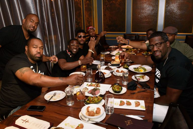 Kevin Hart celebrates his birthday with friends at Beauty & Essex in Las Vegas.
