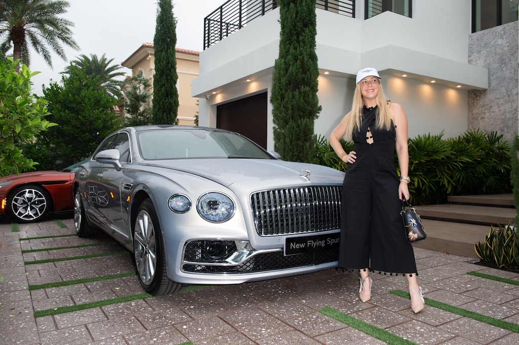Angela Birdman with the New Bentley Flying Spur