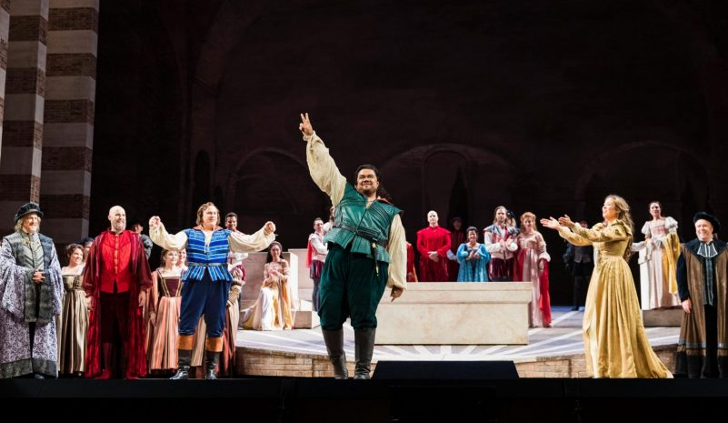 Tenor Pene Pati, starring as Romeo, and Soprano Nadine Sierra, as Juliet, in San Francisco Opera's opening night.