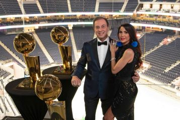 Joe and Nicole Lacob in Chase Center
