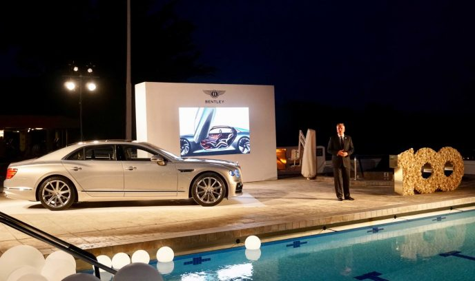 Adrian Hallmark, CEO of Bentley Motors at celebration of 100th anniversary
