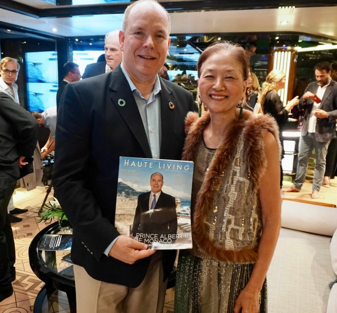 HSH Prince Albert with Olivia Decker and Haute Living Prince cover issue