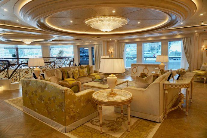 Living room of mega yacht Tis, winner of Best Interior Award 2019