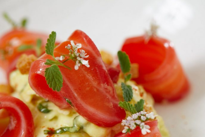 ONE65 Bistro & Grill's soju-cured salmon served with beet and a curry cauliflower remoulade.