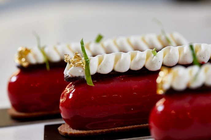 A row of chocolate raspberry fingers, one of many tempting desserts from ONE65 Patisserie & Boutique.
