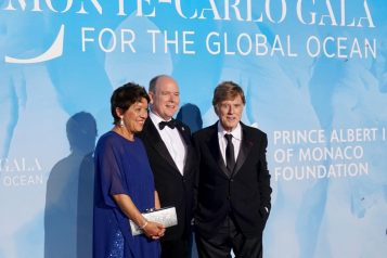 Sibylle Redford, Prince Albert and Robert Redford attend the 2019 Monte-Carlo Gala for the Global Ocean