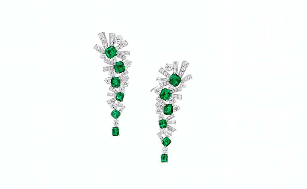 Gra Threads Diamond and Emerald Earrings (15 carats)