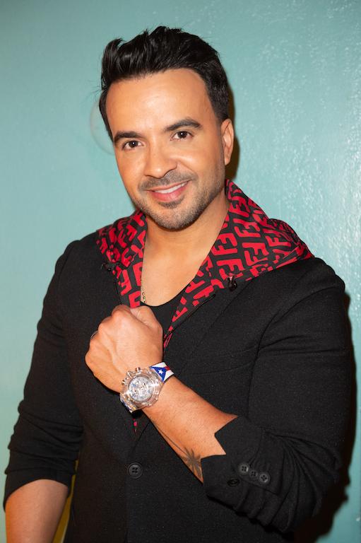 Luis Fonsi wearing the new Hublot Big Bang Luis Fonsi Sapphire