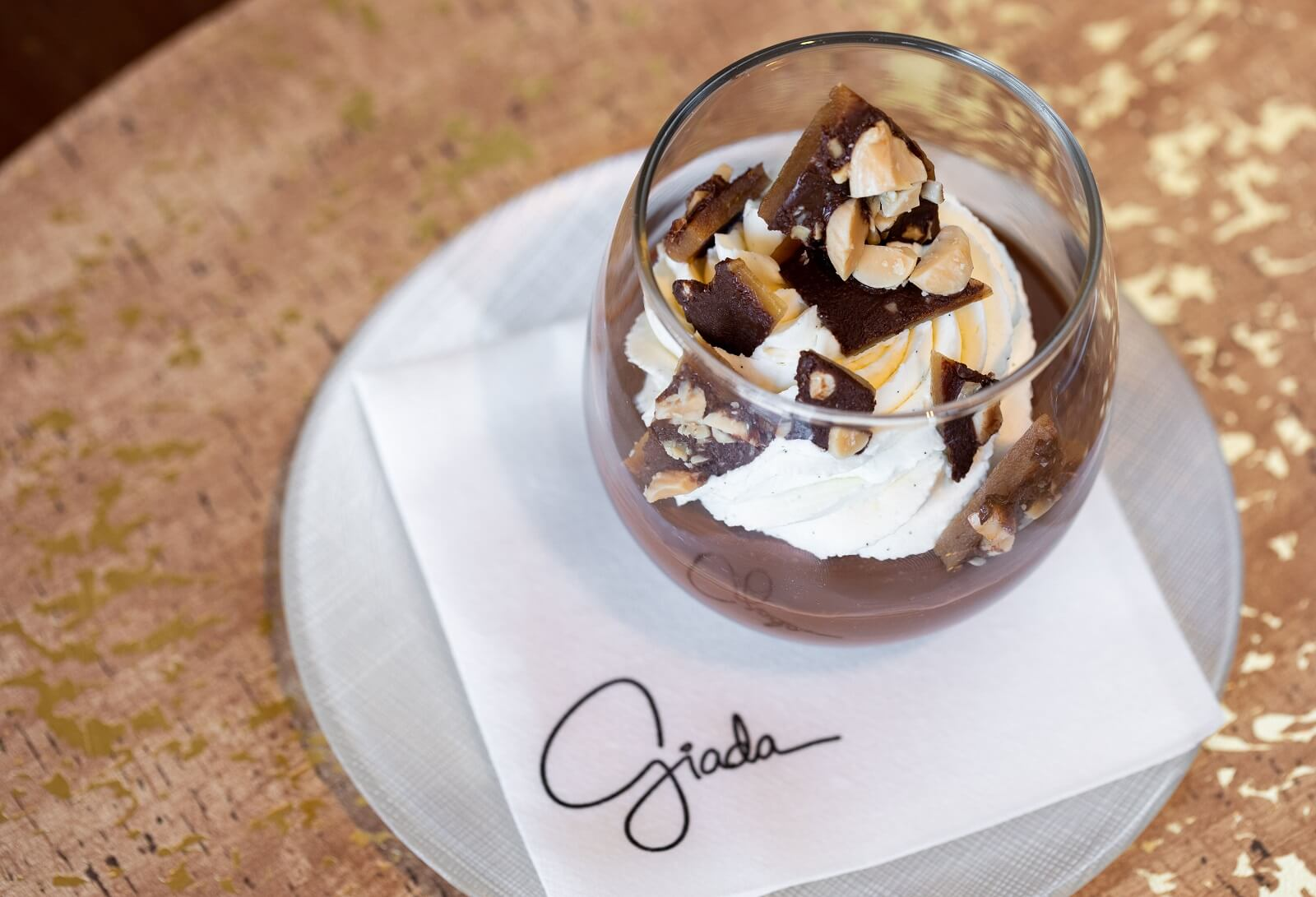 GIADA Book Club Brunch Tasting Menu Chocolate Budino with Amaretto Whipped Cream Las Vegas Brunch