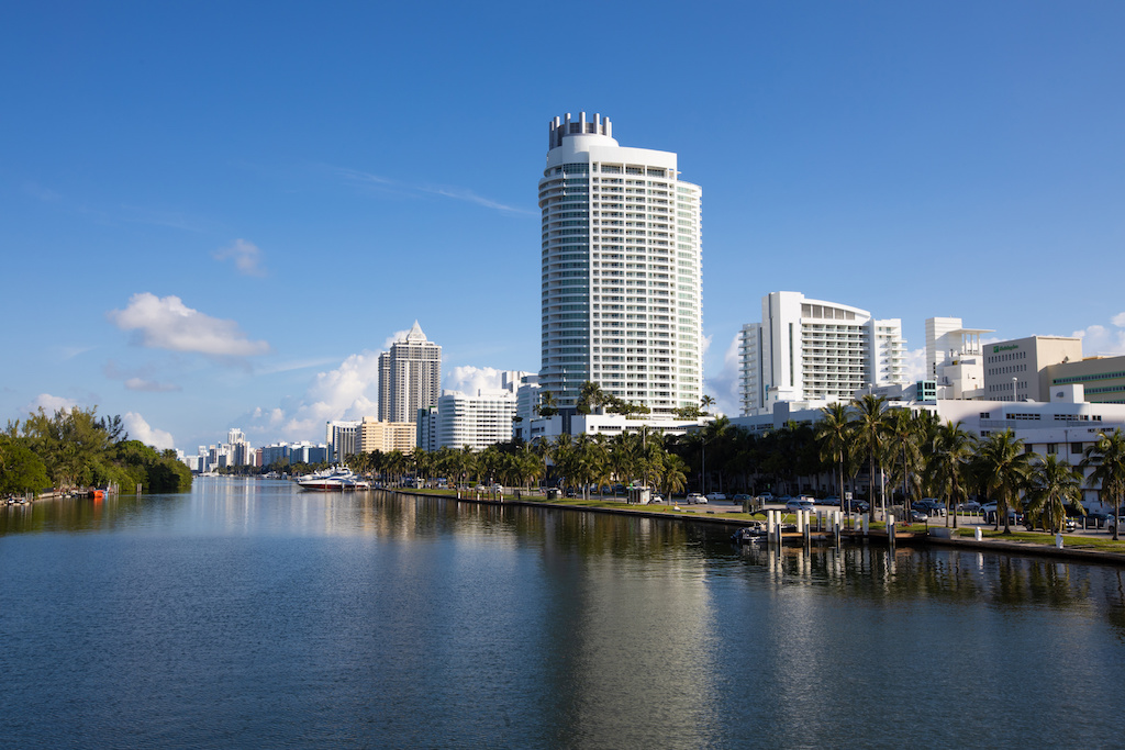 Panoramic view of millionaire row in Miami. Located in Collins Ave, Miami Beach, Florida