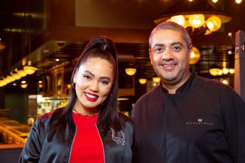 Ayesha Curry and Michael Mina at International Smoke Las Vegas