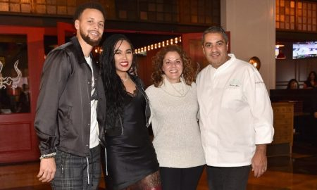 Stephen and Ayesha Curry with Diane and Michael Mina at International Smoke at MGM Grand Las Vegas