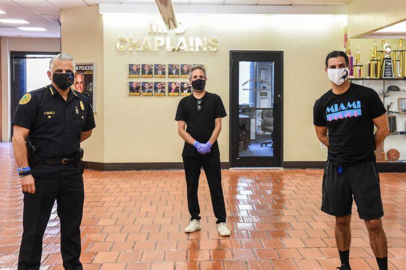 Miami Police Chief Jorge Colina, Seth Browarnik, & Mayor Francis X. Suarez