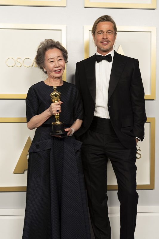 Yuh-Jung Youn and Brad Pitt
