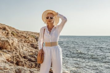 Elegant,Fashionable,Woman,Wearing,Summer,White,Linen,Suit:,Shirt,,Trousers,