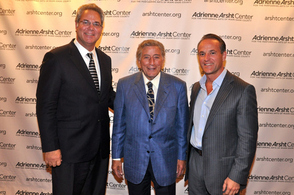 John Richard President and CEO of the Adrienne Arsht Center, Tony Bennett, and Ricky Arriola, Performing Arts Center Trust Chairman