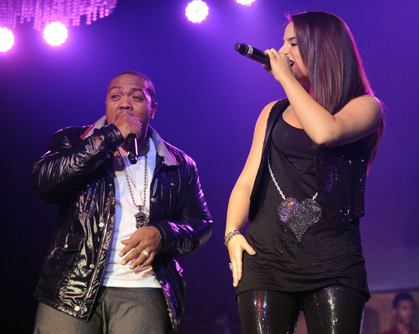 Timbaland and JoJo performing together at the Verizon Wireless & Blackberry and Shock Value II Album Release Party